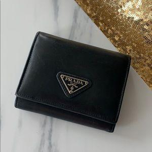 Authentic prada small balck wallet